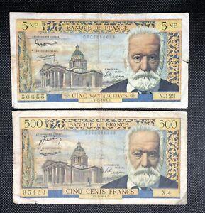 2 Billets Victor Hugo : 500 Francs 7-1-1954 X.4 Et 5 nouveaux Francs 1-10-1964