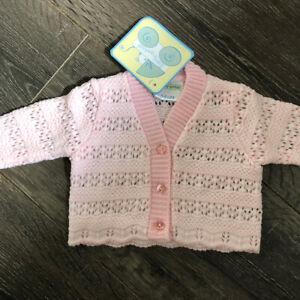 baby babies cardis cardigans GIRLS PREM CARDI premature  pink & white