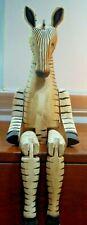 "Vtg Handcrafted Wooden Jointed Zebra Shelf Sitter Folk Art 26"" Total 14"" Sitting"