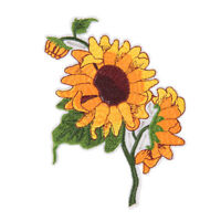 sunflower iron on patch embroidered clothes patch for clothing garment apparel ~