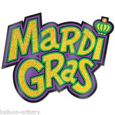 """16"""" Mardi Gras Carnival Party Glitter segno Ritaglio Muro Decorazione da finestra"""