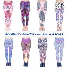 New listing Women Boho Printed Elastic Milk Silk Pantyhose Opaque Sports Gym Yoga Tights