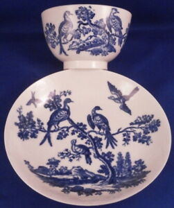 Antique 18thC Worcester Porcelain Bird Scene Scenic Cup & Saucer Porzellan Tasse