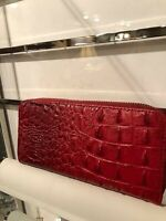 Red  Faux Vegan Crocodile Ostrich Print Wallet with 3 Compartments