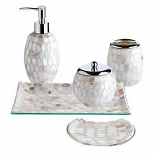 5Pc Pearl Mosaic Glass Bathroom Accessory/Accessories Set w Soap Dispenser/Dish