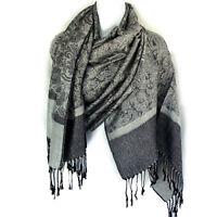 Jacquard Paisley Pashmina Shawl Scarf Stole  Wrap Black Gray Paisleys Design