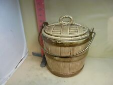 VINTAGE COOKIE BARREL COOKIE JAR ,UNMARKED ,MAYBE SHAWNEE THOUGH? ONE EAR ISSUE