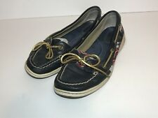 Sperry Top Sider Deck Boat Shoes Slip On Loafers Womens Sz 10 Navy Blue Plaid