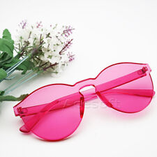 Up-to-date Styling Jelly Plastic Lens Rimless Rose Pink Attractive Sunglasses