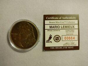 Mario Lemieux Highland Mint Bronze Medallion #0664 Hockey Coin Penguins