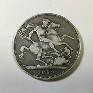 1889 Victoria Jubilee Silver Crown  KM#765 a lower grade coin