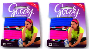 24 Goody Elastic Hair Ties, Blue, Pink and Colorful Ponytail Holders For Girls