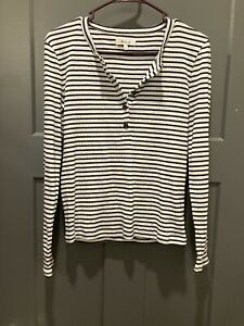Madewell small long sleeve shirt black and white stripes buttons