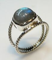 925 STERLING SILVER 5 GM CLASSIC RING SIZE 8 LABRADORITE NATURAL GEMSTONE 10 MM