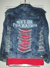 'GET IN FORMATION' Holey Bey Bleach Fitted Distressed Denim Jean Jacket Jrs XS S