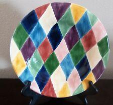 Tabletops Unlimited Carnival Large Salad Plates Multi-Color Diamond Design x1