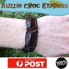 Authentic Australian Saltwater Crocodile Leather Wrist band/Bracelet Brown