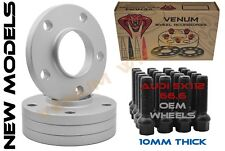 Complete Set of 10mm Gray Audi Hub Centric Wheel Spacers 5x112 66.6 H.B + Bolts