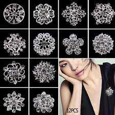 12 Silver Crystal Diamante Flower Pin Badge Brooch Wedding Bouquet Bridal Broach