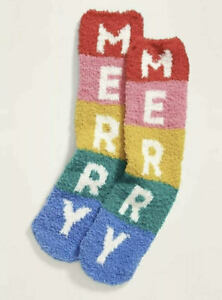 Merry Cozy Socks - Old Navy Women's - Fluffy Fuzzy - Christmas Rainbow New