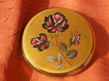 runde Puderdose Stratton Made in England Rose Rosenmotiv ca 7,5cm Durchm.