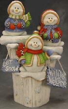 Ceramic Bisque Ready to Paint Three Snowmen on a Winter Stump