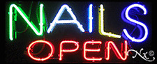 "Brand New ""Nails Open"" 32x13 Real Neon Sign w/Custom Options 10348"