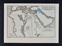 1880 Labberton Map - Ancient Chaldea Mesopotamia - Great Pyramids Cairo Egypt