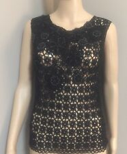 NWOT Black Beaded   sleeveless Crocheted Top  by  Moschino sz 6