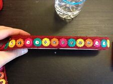 1m wine mirror shisha embroidered ribbon applique motif trimming decor Indian