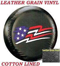 "LINED VINYL LEATHER GRAIN SPARE TIRE COVER 12-14"" rim Pop-up Camper US Flag"