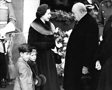 Winston Churchill with Queen Elizabeth II-Prince Charles-Princess Anne Photo
