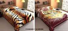 2 Ply Reversible Leopard Tiger Brown Queen Size Plush Soft Mink Blanket 6lbs