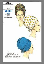 Vogue Millinery Designer Halston Turban Fabric material sewing  pattern # 6606