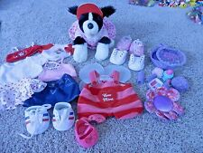 "Build A Bear girl Lot 34 Pieces  Clothes Shoes valentine ""bee mine"" dog house"