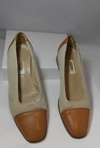 TALBOTS Classic Light Brown Leather & Fabric Heels Square Pumps Shoes ITALY 7M