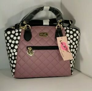 Luv Betsey Johnson crossbody Mauve Black and poka dots  Quilted Satchel handbag