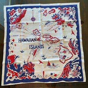 "Vtg  25"" X 26"" Hawaiian Islands Map Print Cotton Bandana Scarf"