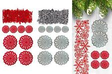 4 Placemats 4 Coasters Table Runner Set Christmas Snowflake Silver Red Felt
