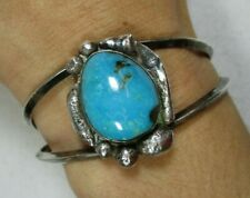 """Vintage Old Pawn Sterling Silver Turquoise Cuff Bracelet 27.1g 6 3/8"""""""