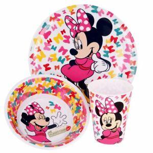 Geschirr-Frühstück-Set Mouse   Minnie Maus   Teller, Schüssel und Becher