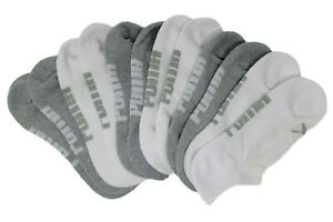 Puma Men's Premium Invisible No Show Cushioned Socks 6-Pack (White/Grey)