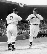 HALL OF FAME LEGENDS TED WILLIAMS HOMERS JIMMIE FOXX GREETS HIM RED SOX 8X10
