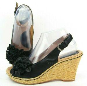BOC Born Concept Women Black Floral Wicker Wedge Sandal Heel Shoe 8 Slingback