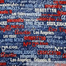 BonEful Fabric FQ Cotton Quilt Blue White Red Old American USA City State Stripe