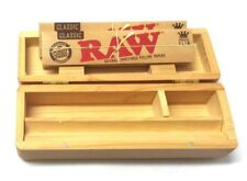 SMALL WOODEN SMOKING GRASSLEAF HINGED BOX with RAW KING SIZE SLIM ROLLING PAPERS