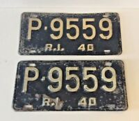 A PAIR (2) OF VINTAGE RHODE ISLAND LICENSE PLATES - 1940