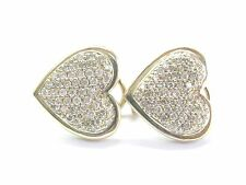 Fine Micro Pave Diamond Heart Shape Yellow Gold Earrings 14Kt 1.00Ct