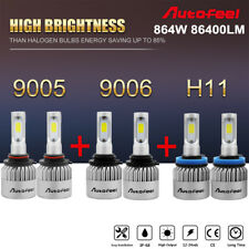 6PCS 9005 9006 H11 Total 864W 86400LM LED Headlight High Low Combo Beam 3 Sided