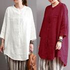 ZANZEA 10-24 Women Summer Loose Button Down Shirt Tee Plus Size Top Tunic Blouse